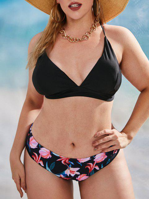Plus Size Criss Cross Flower Print Bikini Swimwear