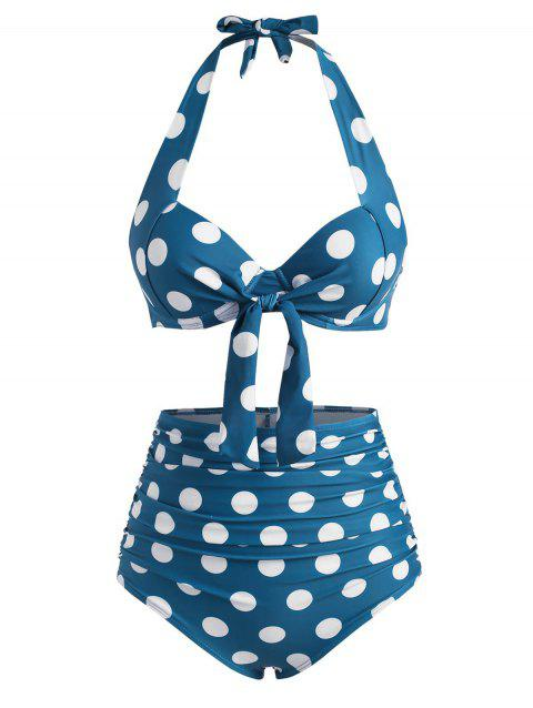 Halter Polka Dot Push Up Knot Ruched Bikini Swimwear