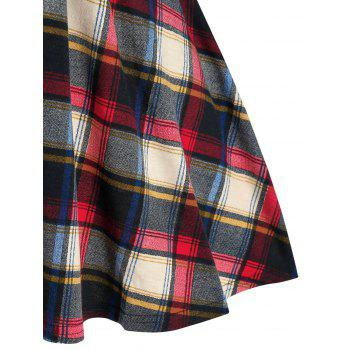 Plaid Print Button Embellished Flare T-shirt