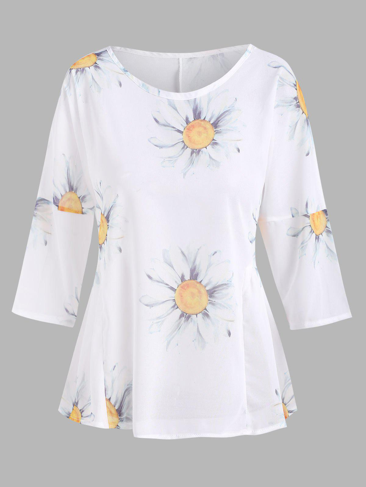 Sunflower Print Ruched Waist Semi-sheer Chiffon Blouse - WHITE L