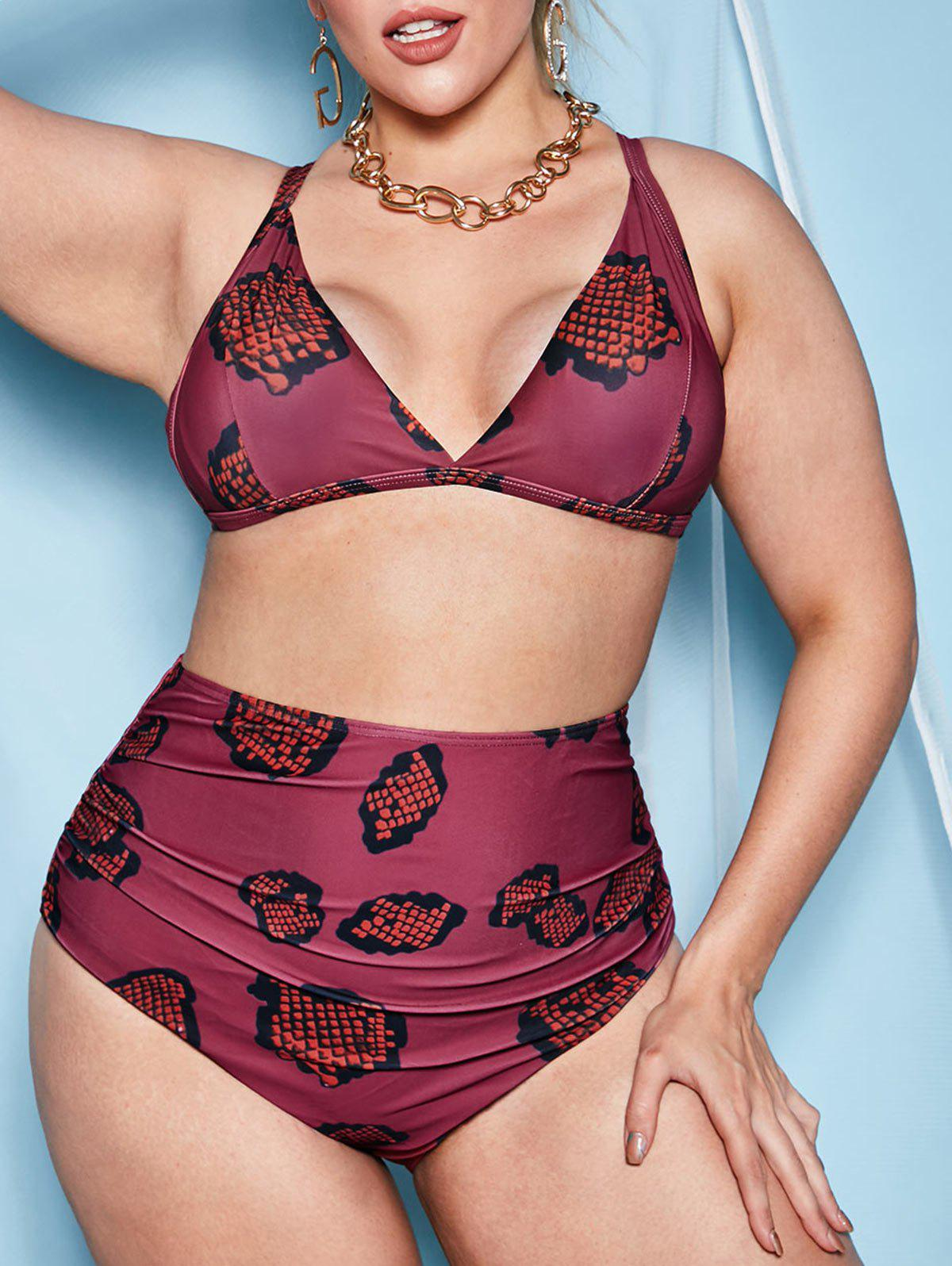 Plus Size Snake Print Ruched High Waisted Bikini Swimwear - DEEP RED 3XL