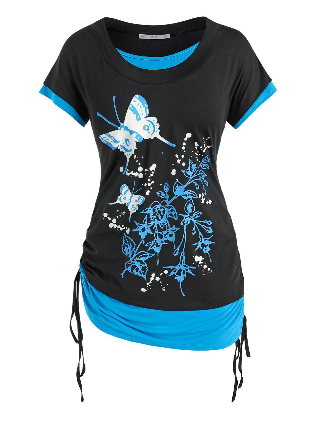 Plus Size Cinched Butterfly Floral Faux Twinset Tee - BLACK 1X