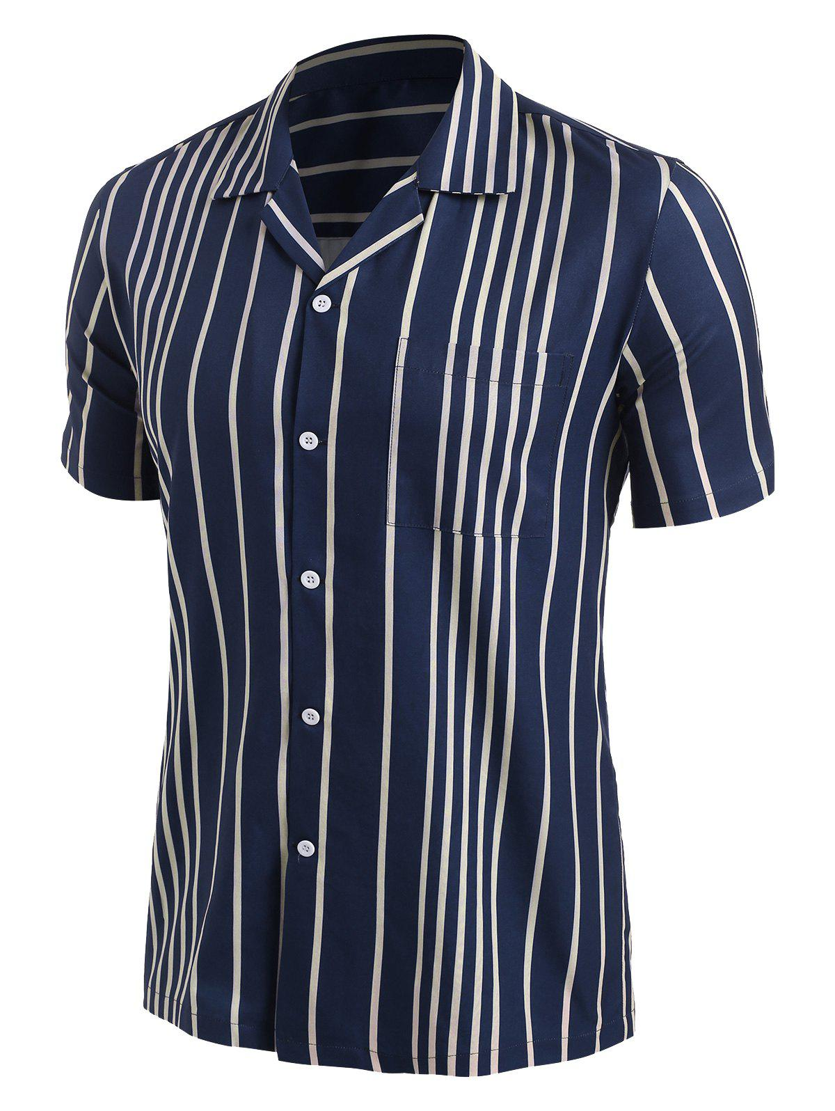 Button Up Contrast Stripes Shirt - DEEP BLUE XL
