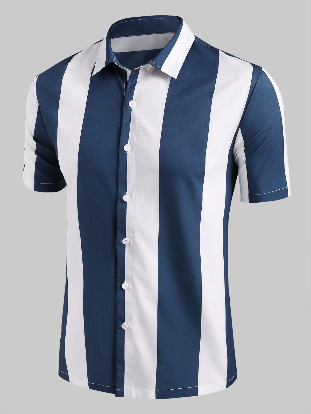 Contrast Stripe Button Up Shirt - BLUE 2XL