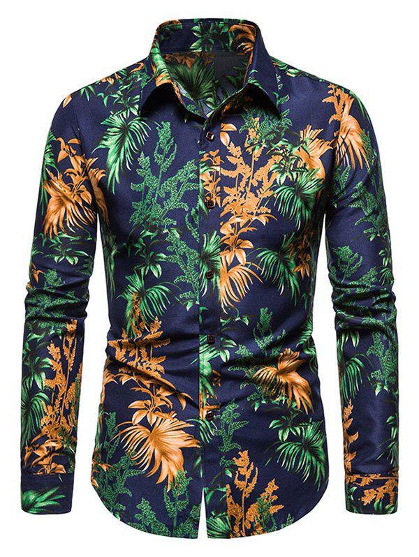 Tropical Leaves Print Long Sleeve Shirt - MIDNIGHT BLUE XL