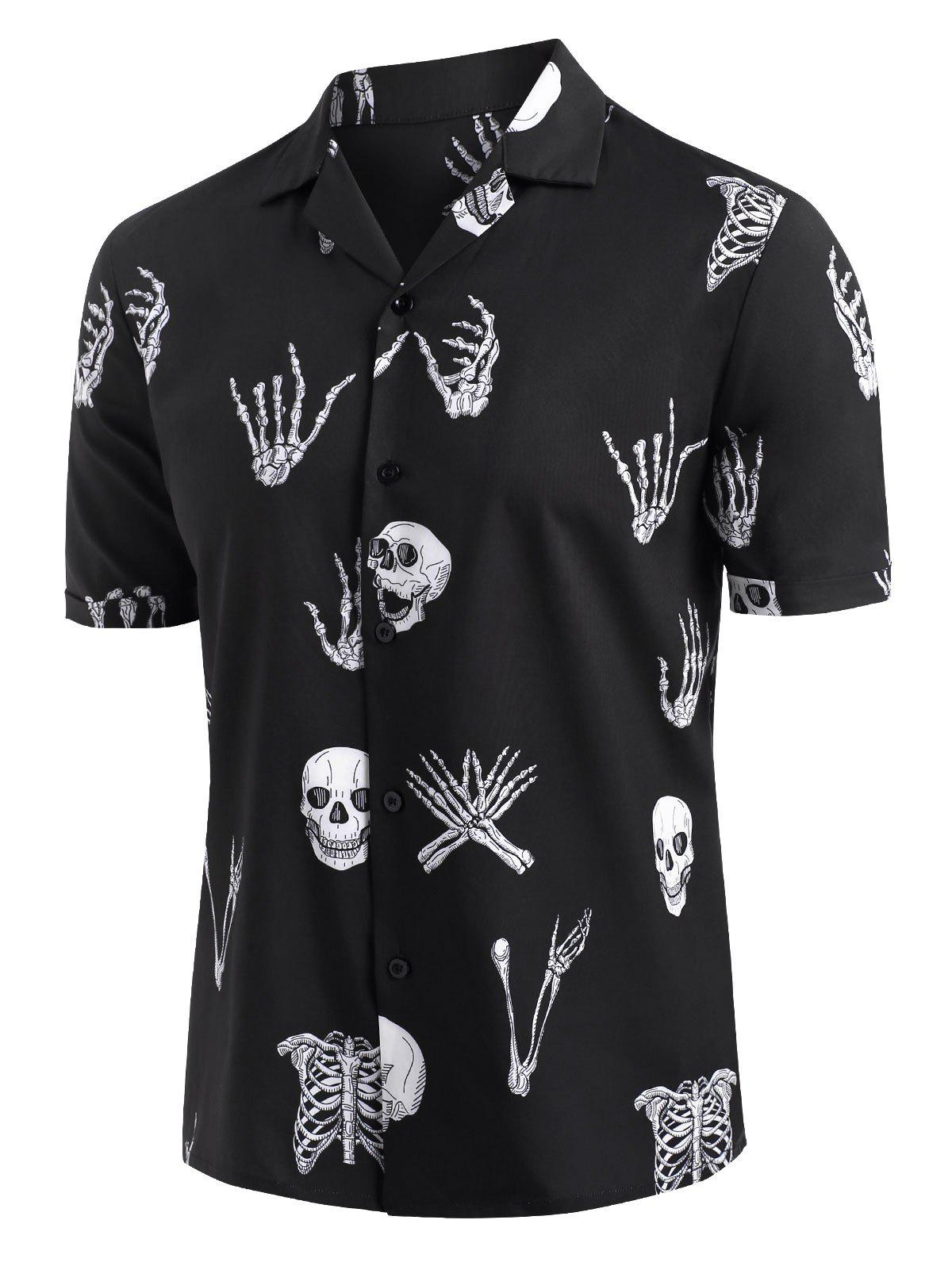 Skull Skeleton Print Short Sleeve Shirt - BLACK S