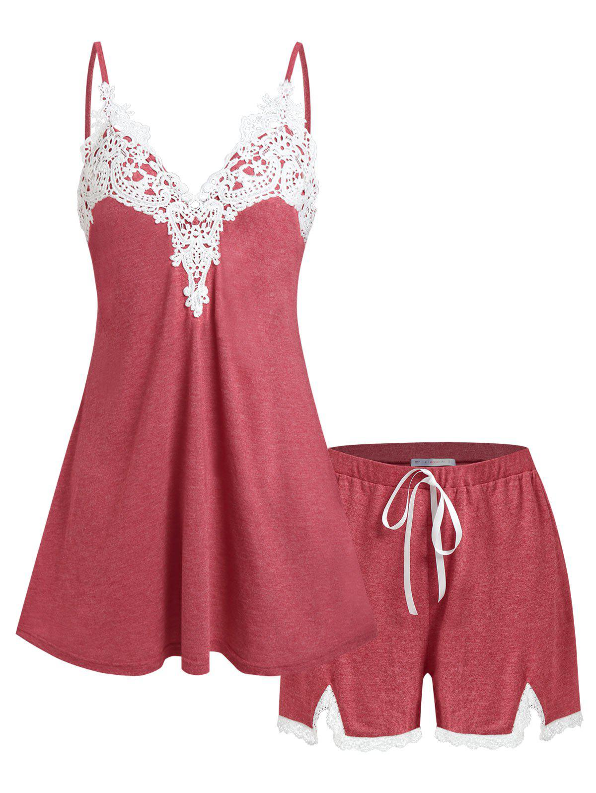 Plus Size Applique Panel Pajama Cami Top and Shorts Set - DEEP RED 5X