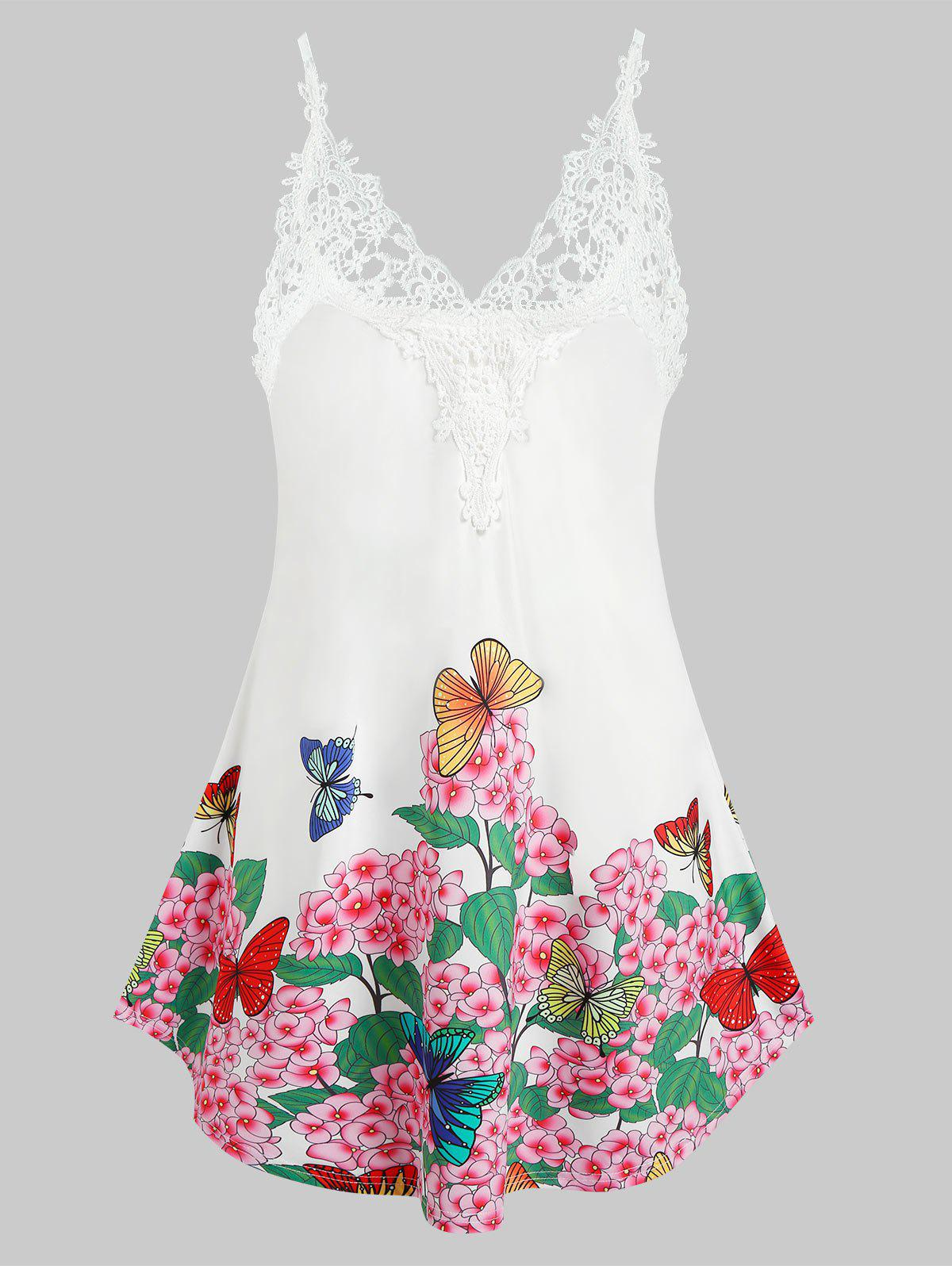 Plus Size Butterfly Flower Printed Cami Tank Top - WHITE 2X