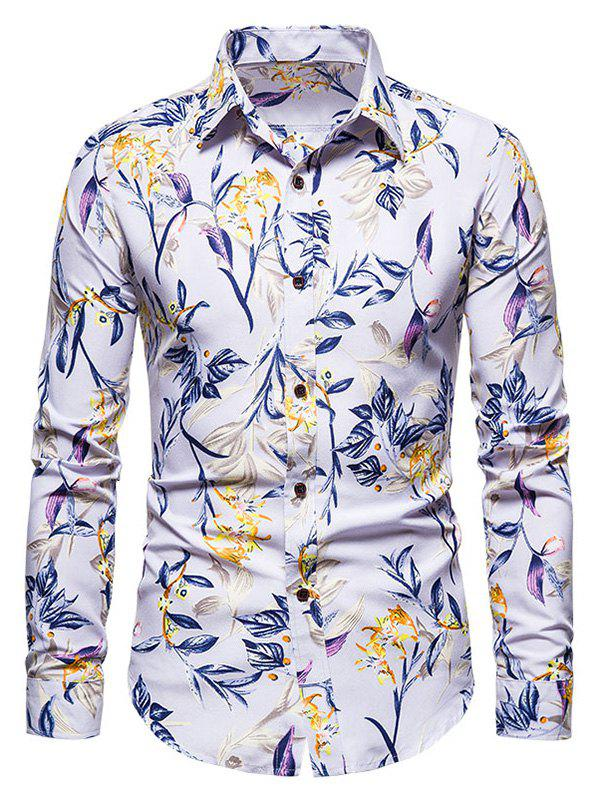 Leaves Flower Print Long Sleeve Shirt - MAUVE 3XL