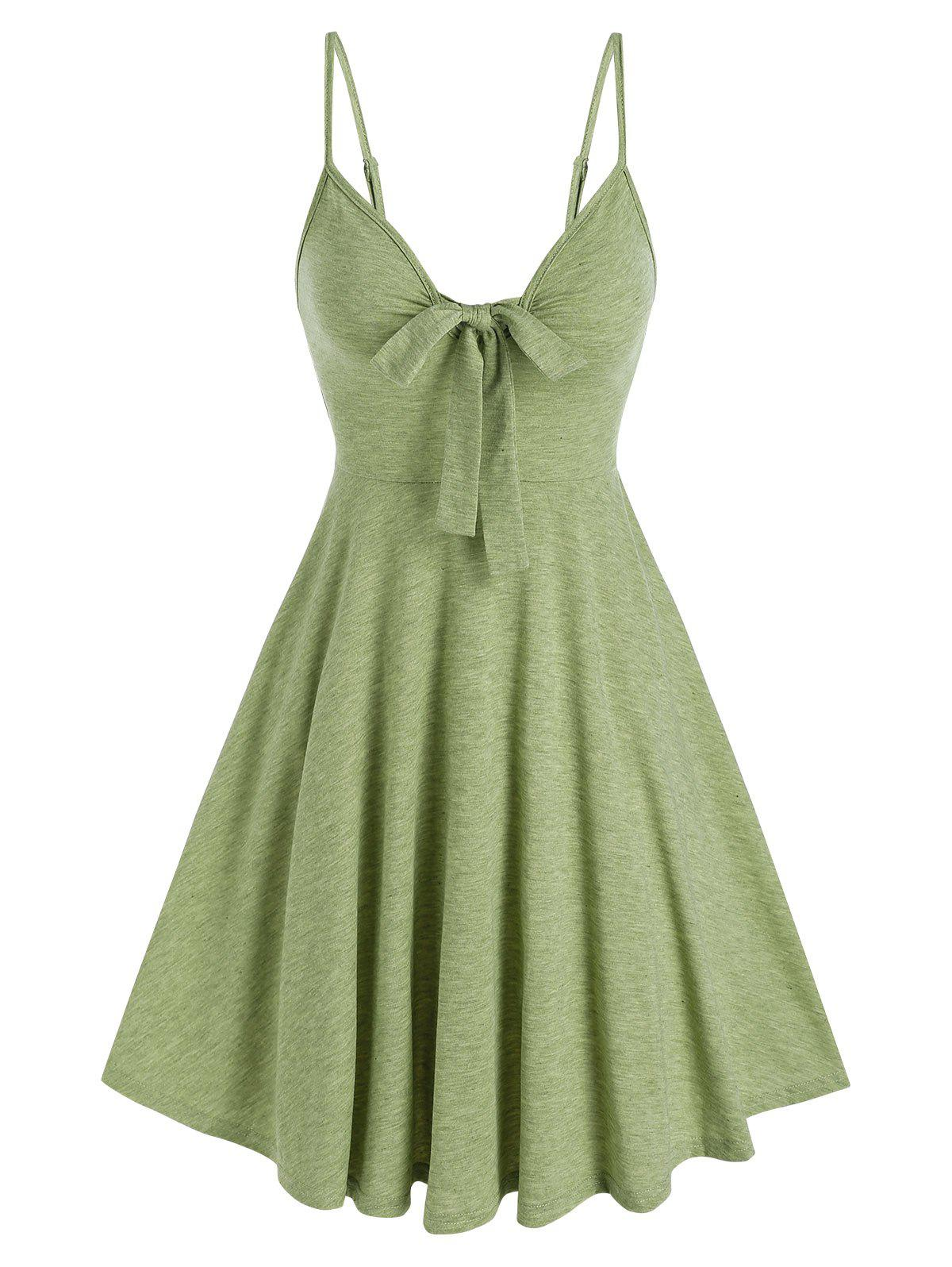 Casual Front Bowknot Flare SLIP DRESS - LIGHT GREEN M