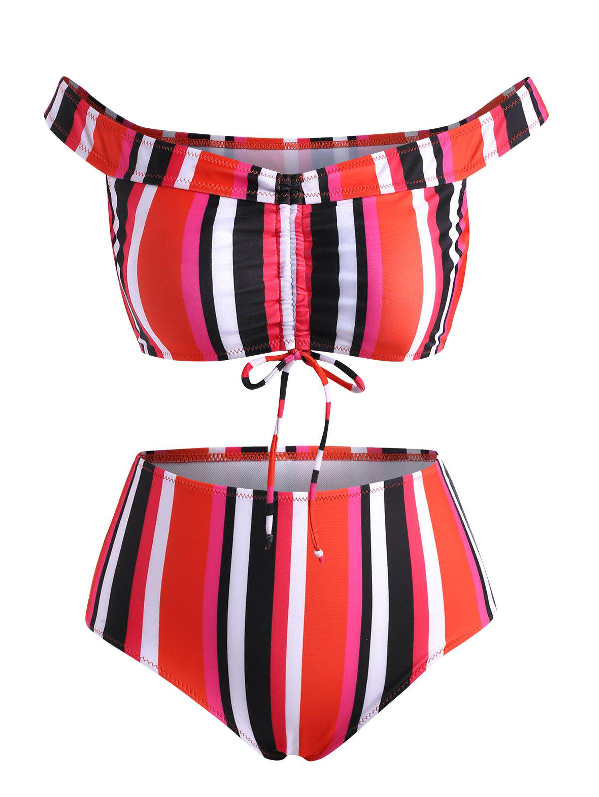 Off Shoulder Colorful Striped Cinched Ruched Bikini Swimwear - RED XL