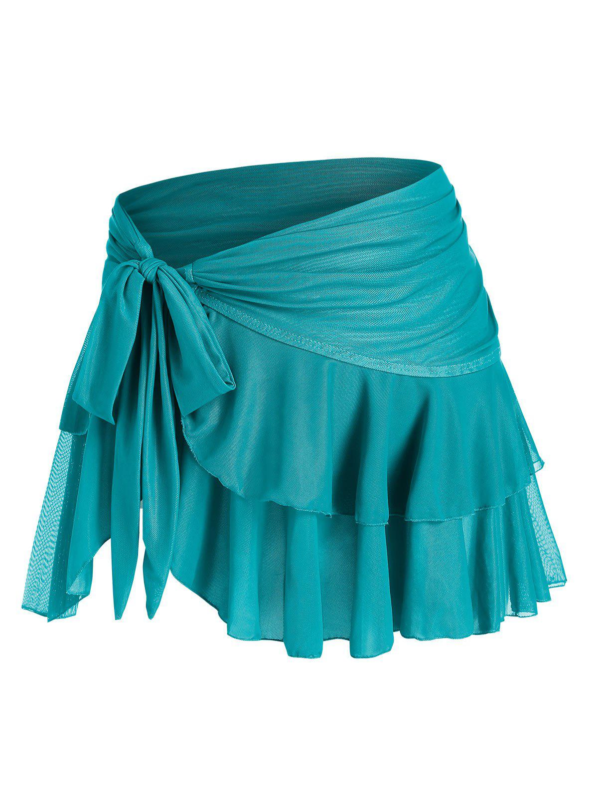 Plus Size Side Tie Layered Mesh Cover Up Skirt - BLUE 1X
