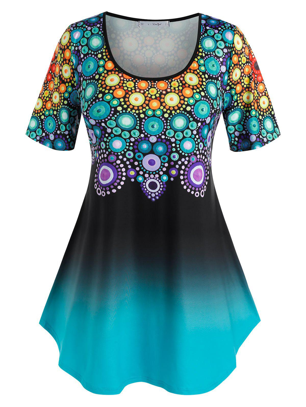Plus Size Ombre Dots Printed Tunic T Shirt - multicolor 5X