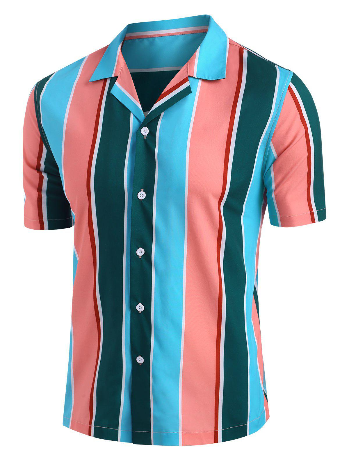 Button Down Contrast Stripe Shirt - multicolor 2XL