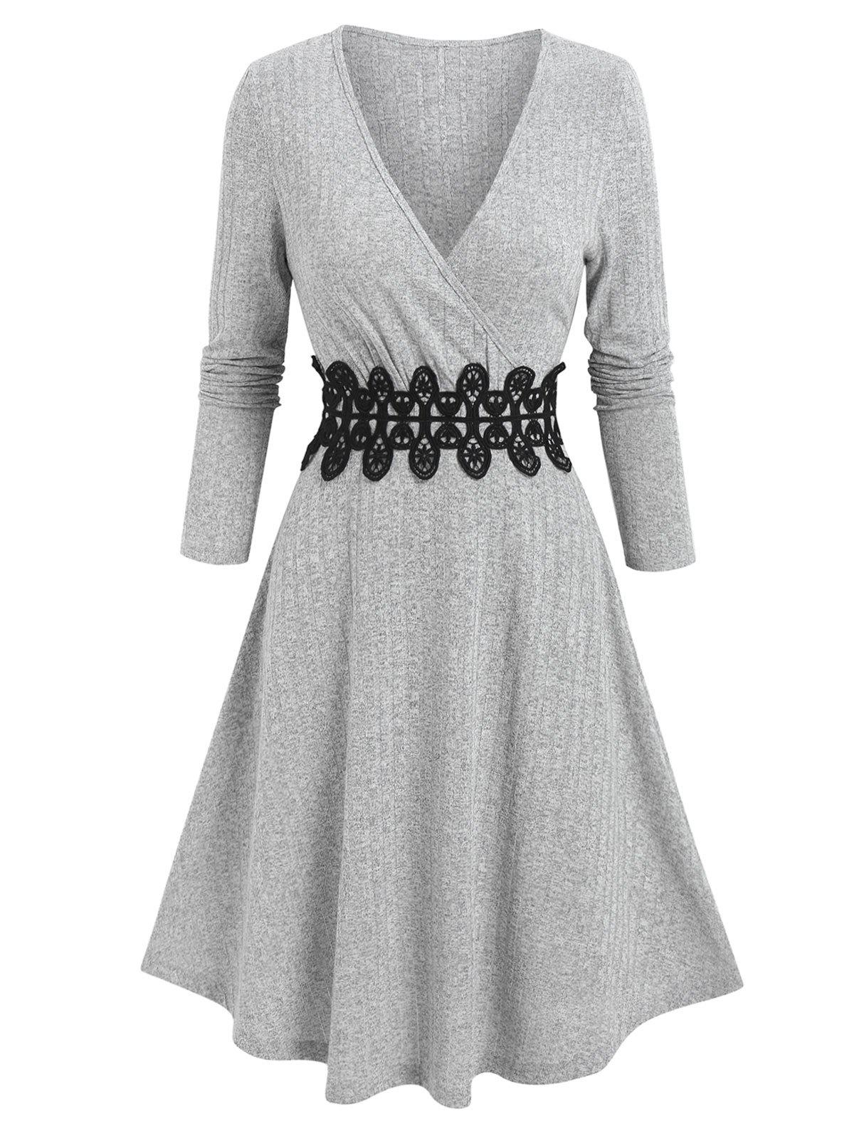 Waist Applique Ribbed V Neck Wrap Dress - LIGHT GRAY 3XL