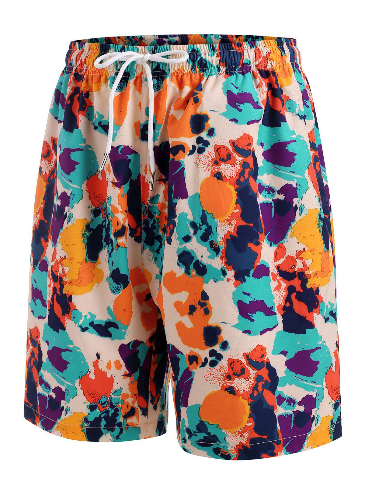 Drawstring Colorful Print Casual Shorts - multicolor S