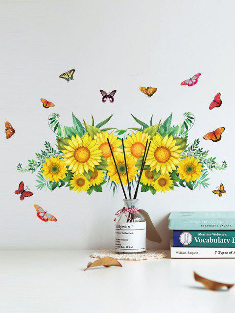 Sunflower Butterfly Pattern Removable Wall Stickers