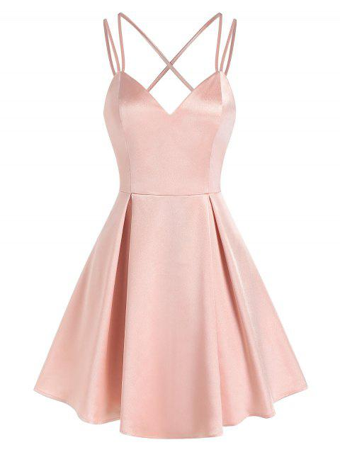 Strappy Backless Pleated Satin Dress