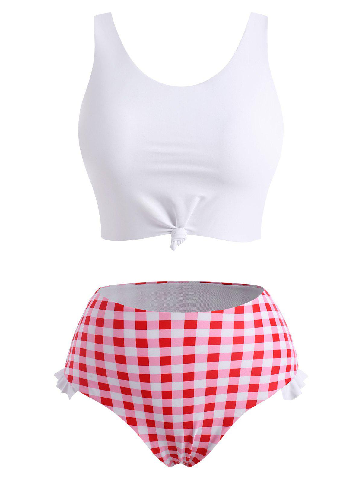 Plaid Print Knotted Padded Tankini Set - WHITE S