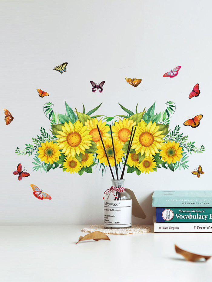 Sunflower Butterfly Pattern Removable Wall Stickers - multicolor A 30X60CM