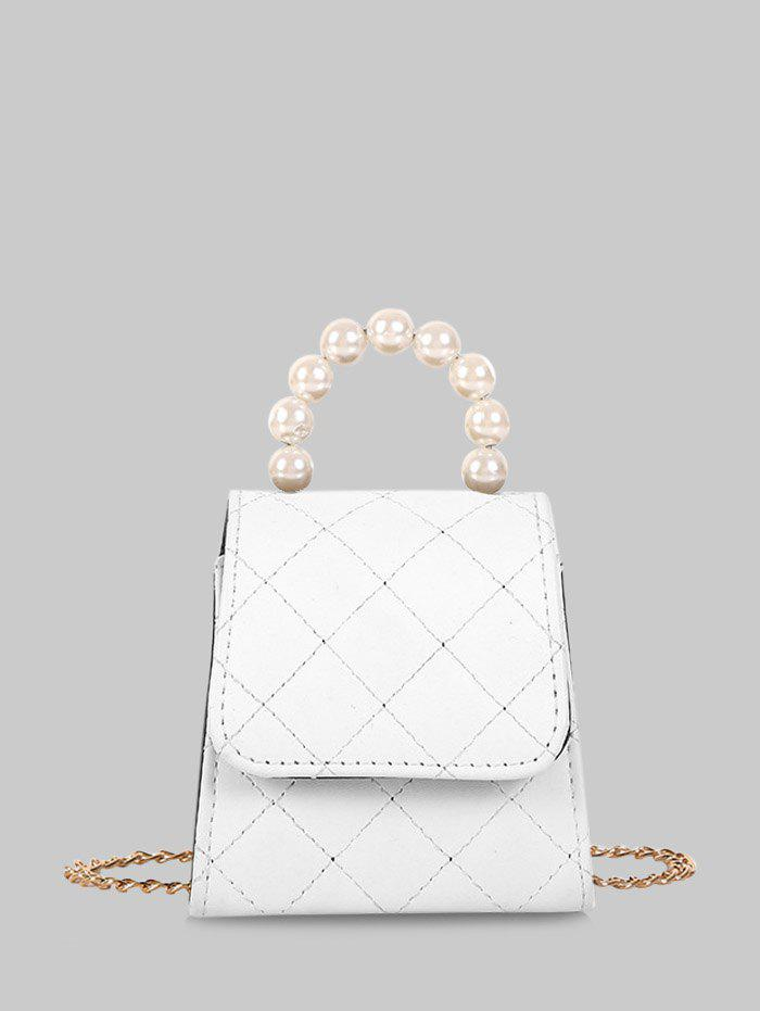 Faux Pearl Quilted Flap Mini Crossbody Bag - MILK WHITE