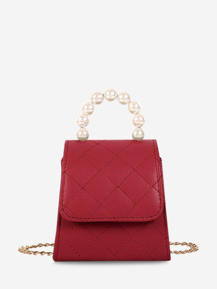Faux Pearl Quilted Flap Mini Crossbody Bag - RED WINE