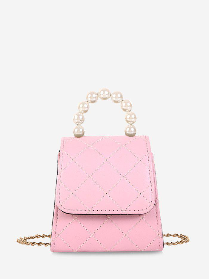 Faux Pearl Quilted Flap Mini Crossbody Bag - PIG PINK