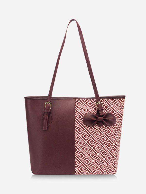 Bowknot Patchwork Rhombus Pattern Tote Bag - RED WINE