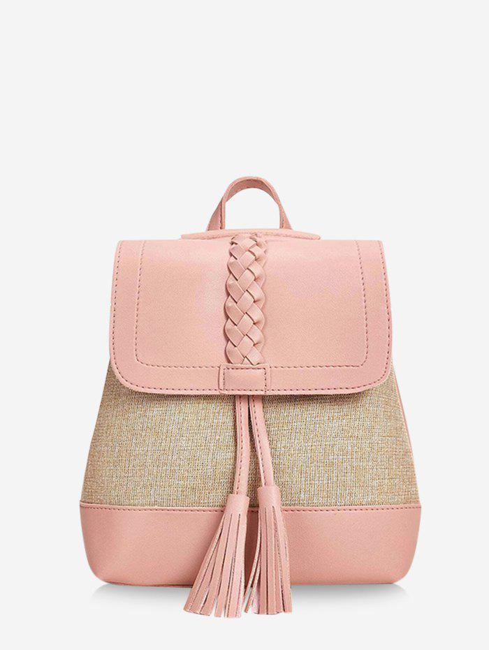 Tassel Braided Two Tone Travel Backpack - LIGHT PINK