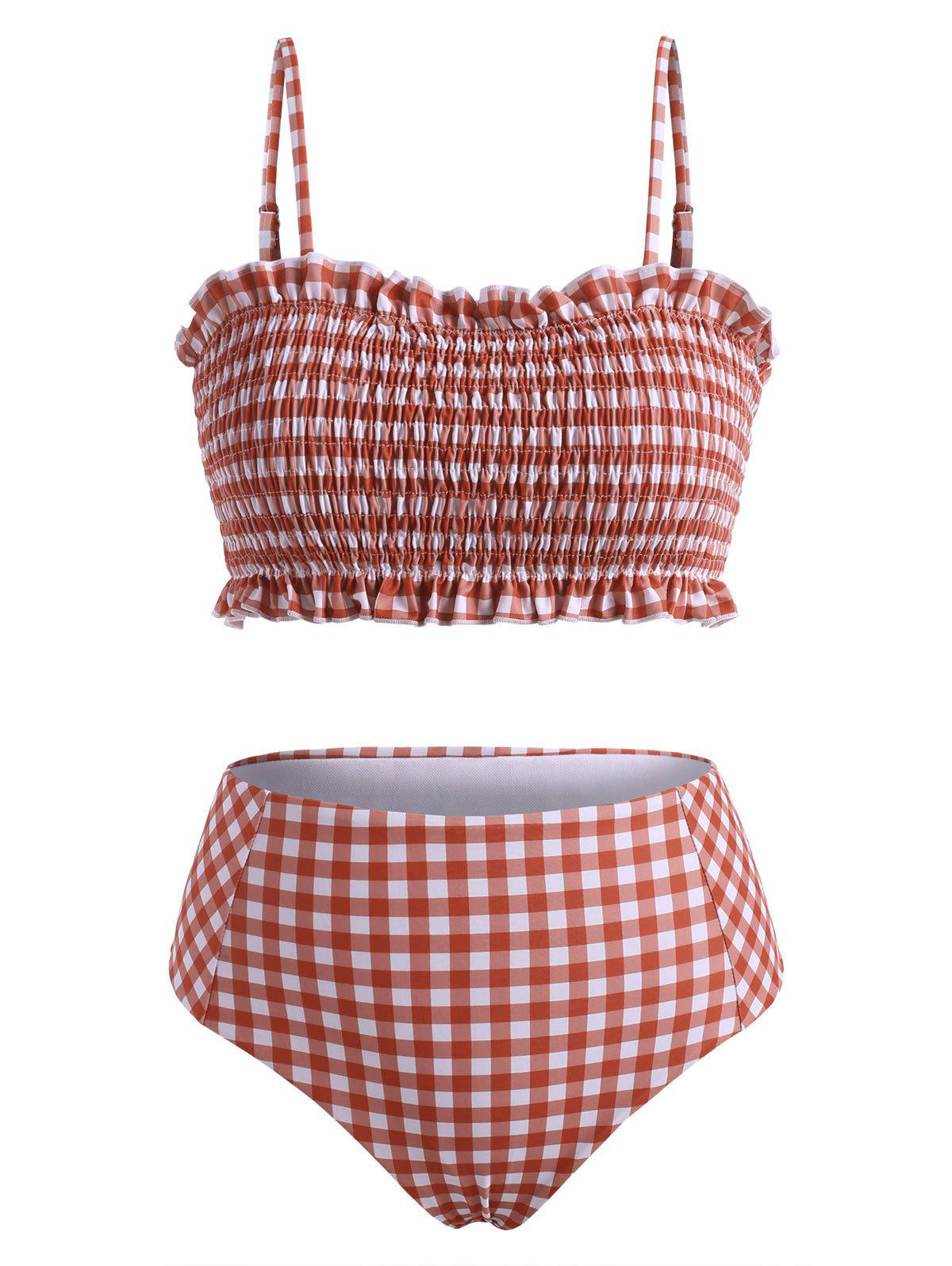 Plaid Print Spaghetti Strap Shirred Bikini Set - RED XL