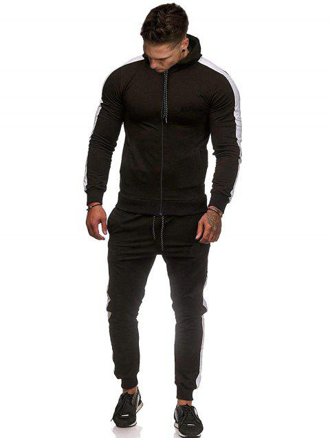 Contrast Tape Zip Up Hoodie and Pants Two Piece Set