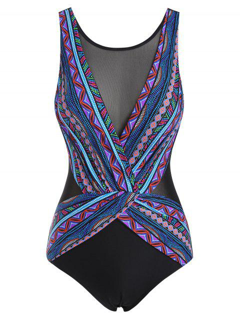 Ethnic Colorful Geometric Mesh Insert Surplice One-piece Swimsuit