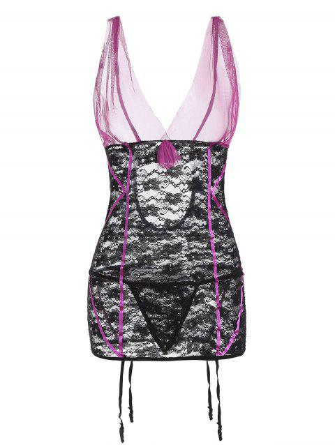 Lace and Mesh Bow Garter Chemise Set