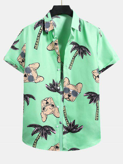 Palm Tree Dog Pattern Button Up Shirt