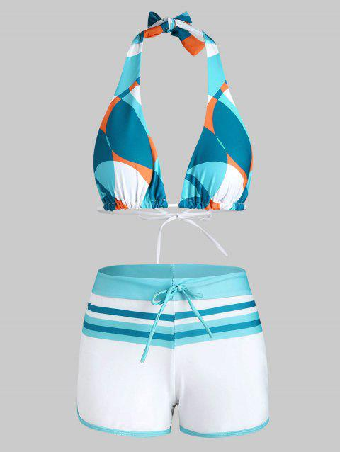 Geometric Striped Binding Drawstring Boyshorts Bikini Swimwear