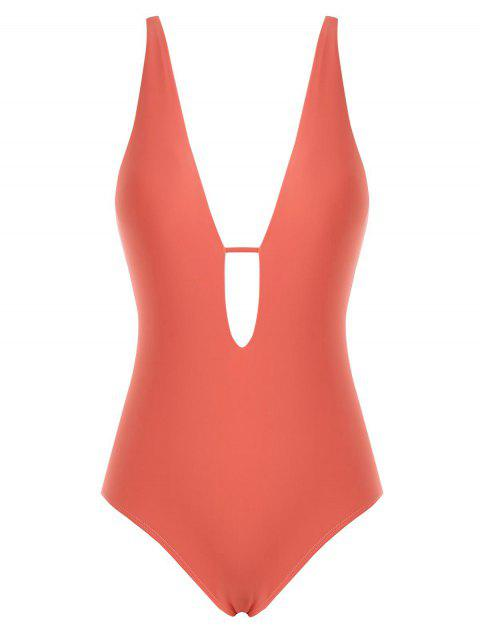 Cut Out High Leg Plunging One-Piece Swimsuit