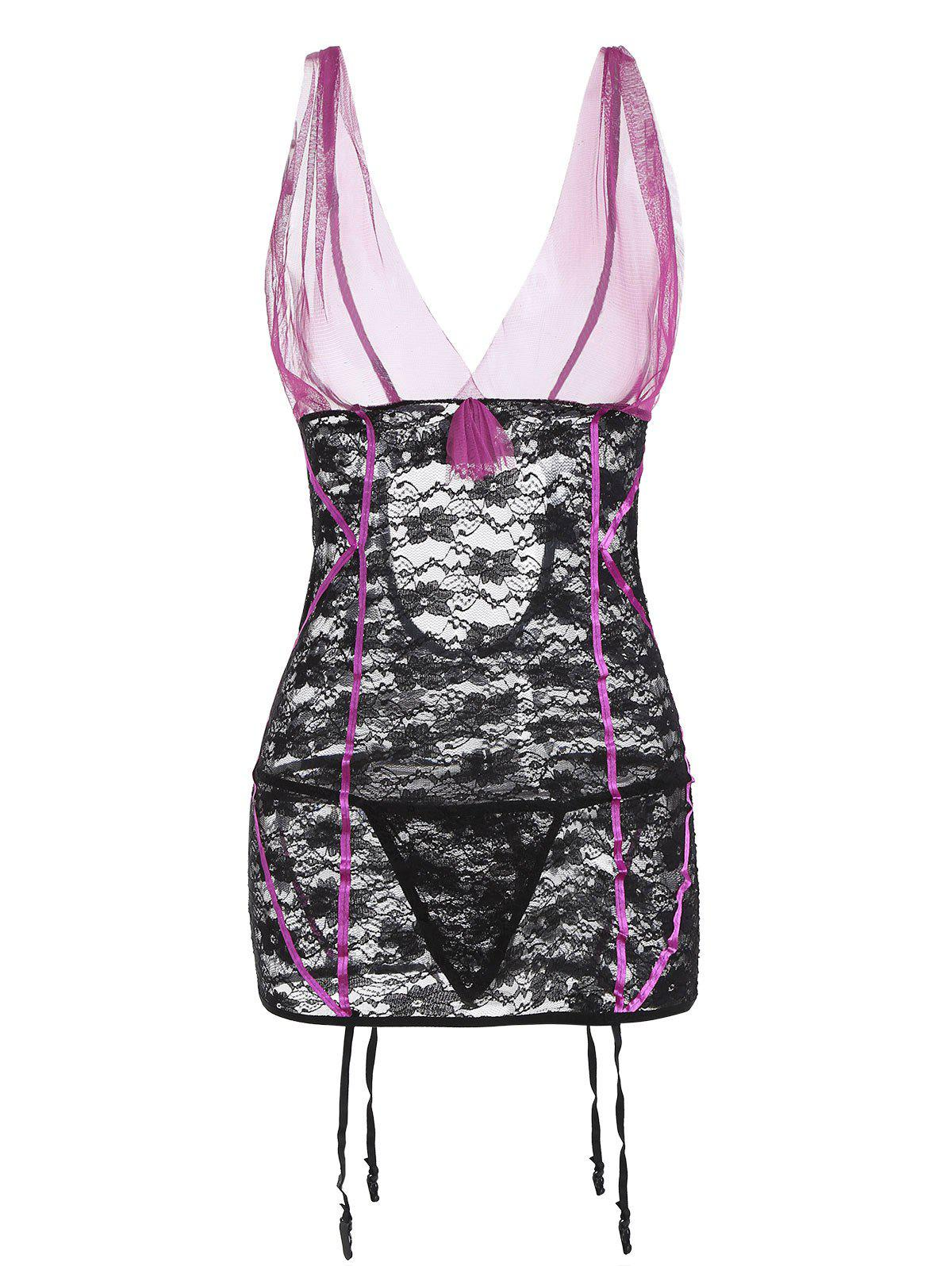 Lace and Mesh Bow Garter Chemise Set - PURPLE XXL