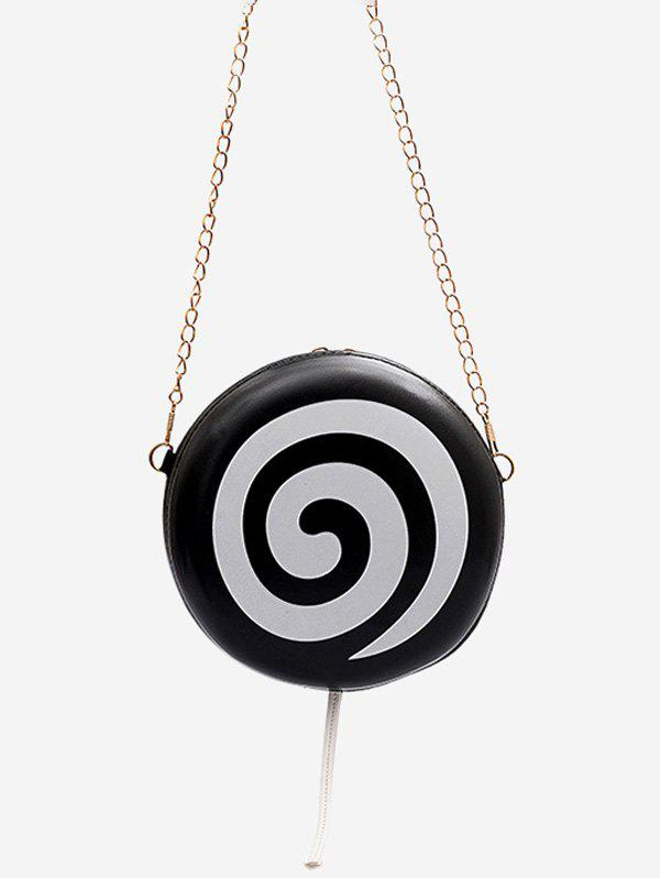 Lollipop Shape Chain Mini Crossbody Bag - BLACK