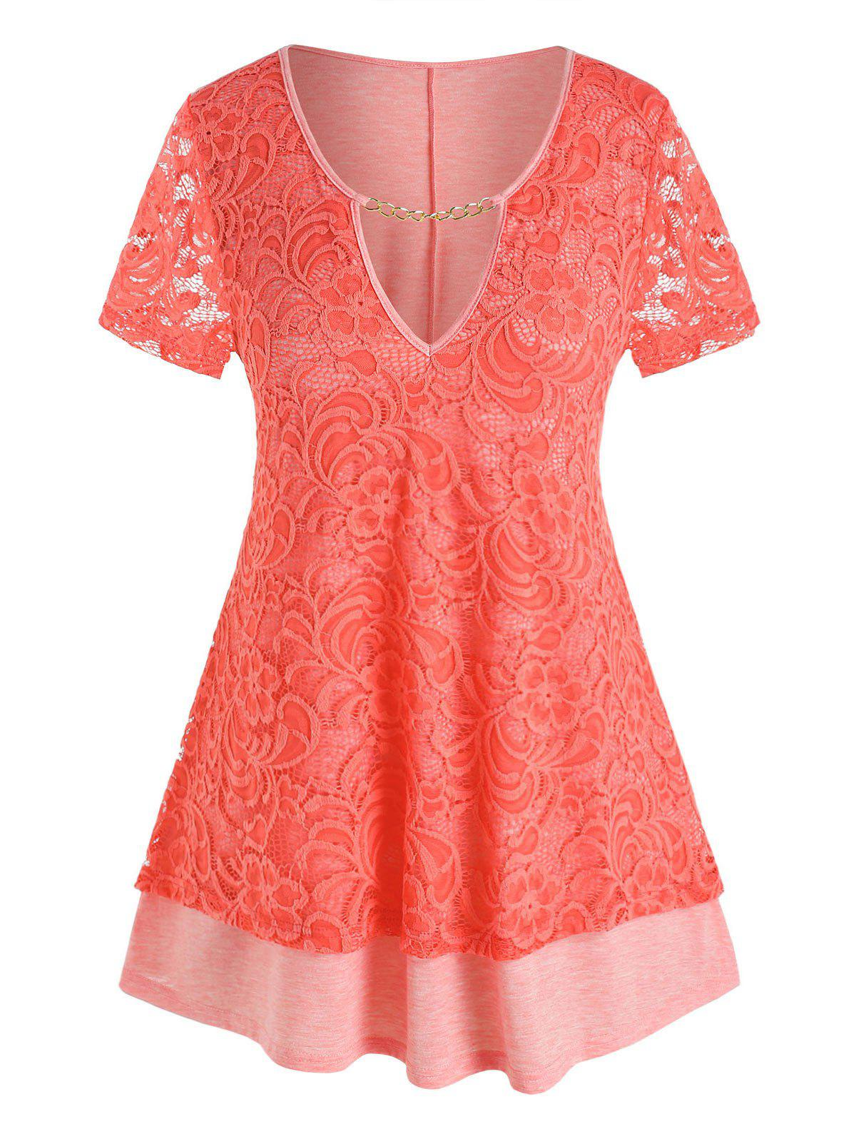 Plus Size Lace Chain Cutout Short Sleeve Tee - LIGHT PINK 2X