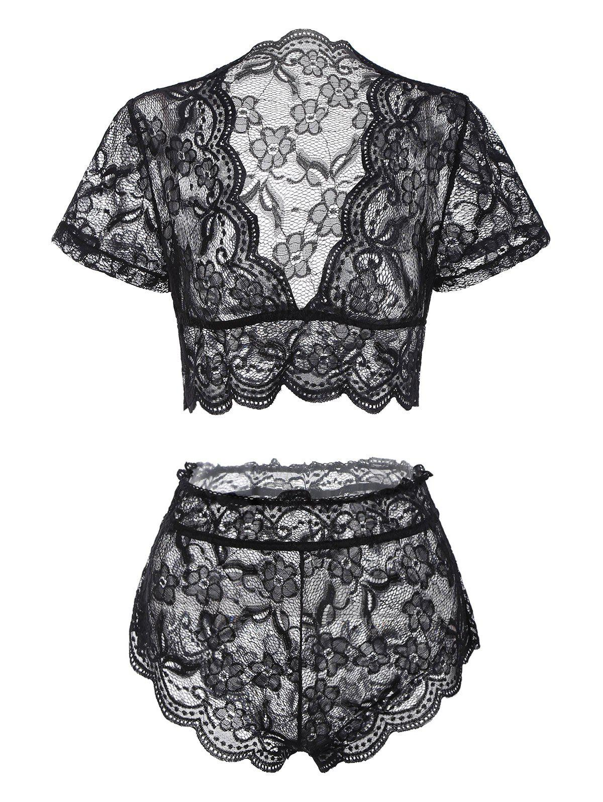 Floral Lace Scalloped Trim Lingerie Set - BLACK M