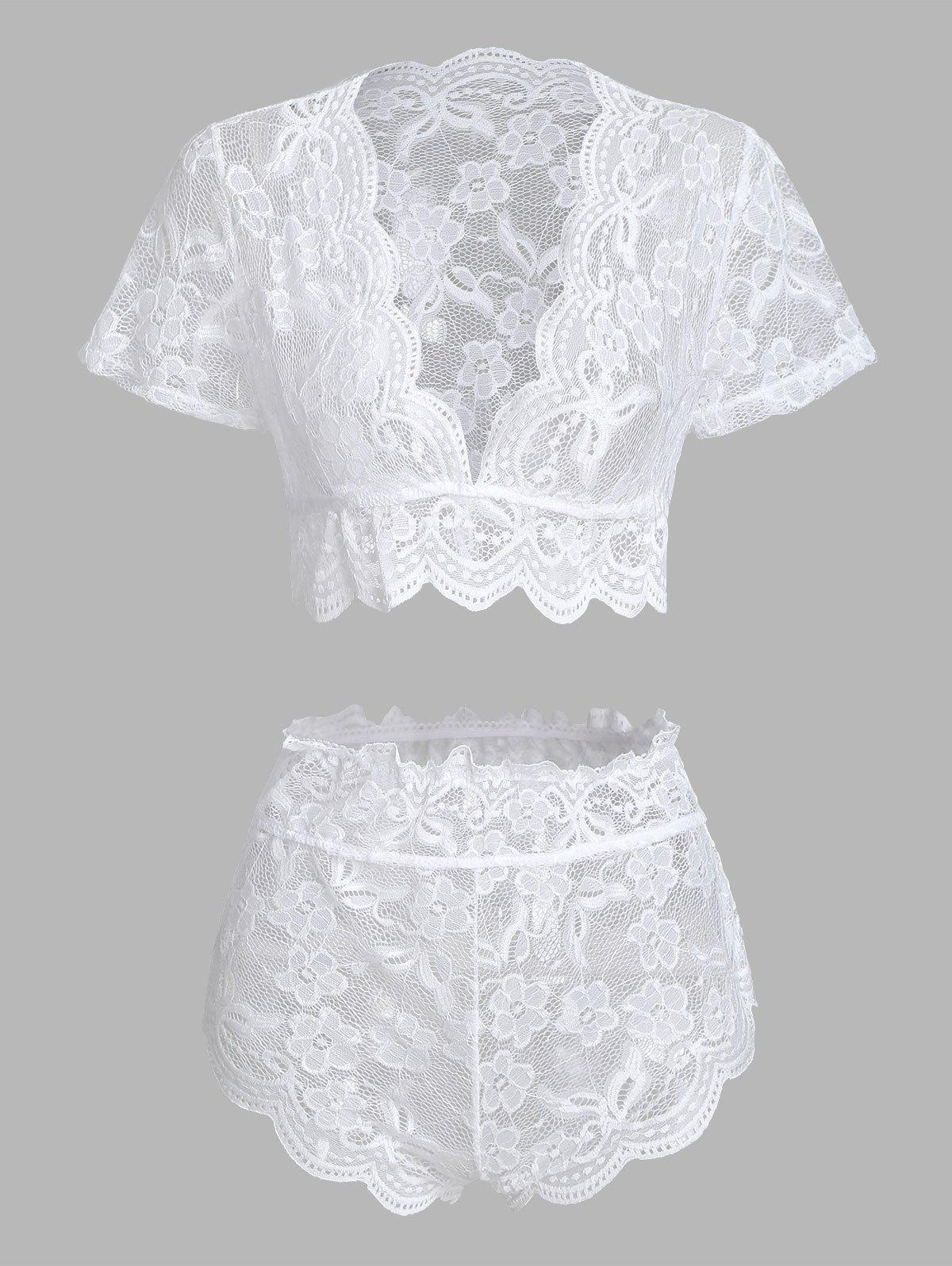 Floral Lace Scalloped Trim Lingerie Set - WHITE M