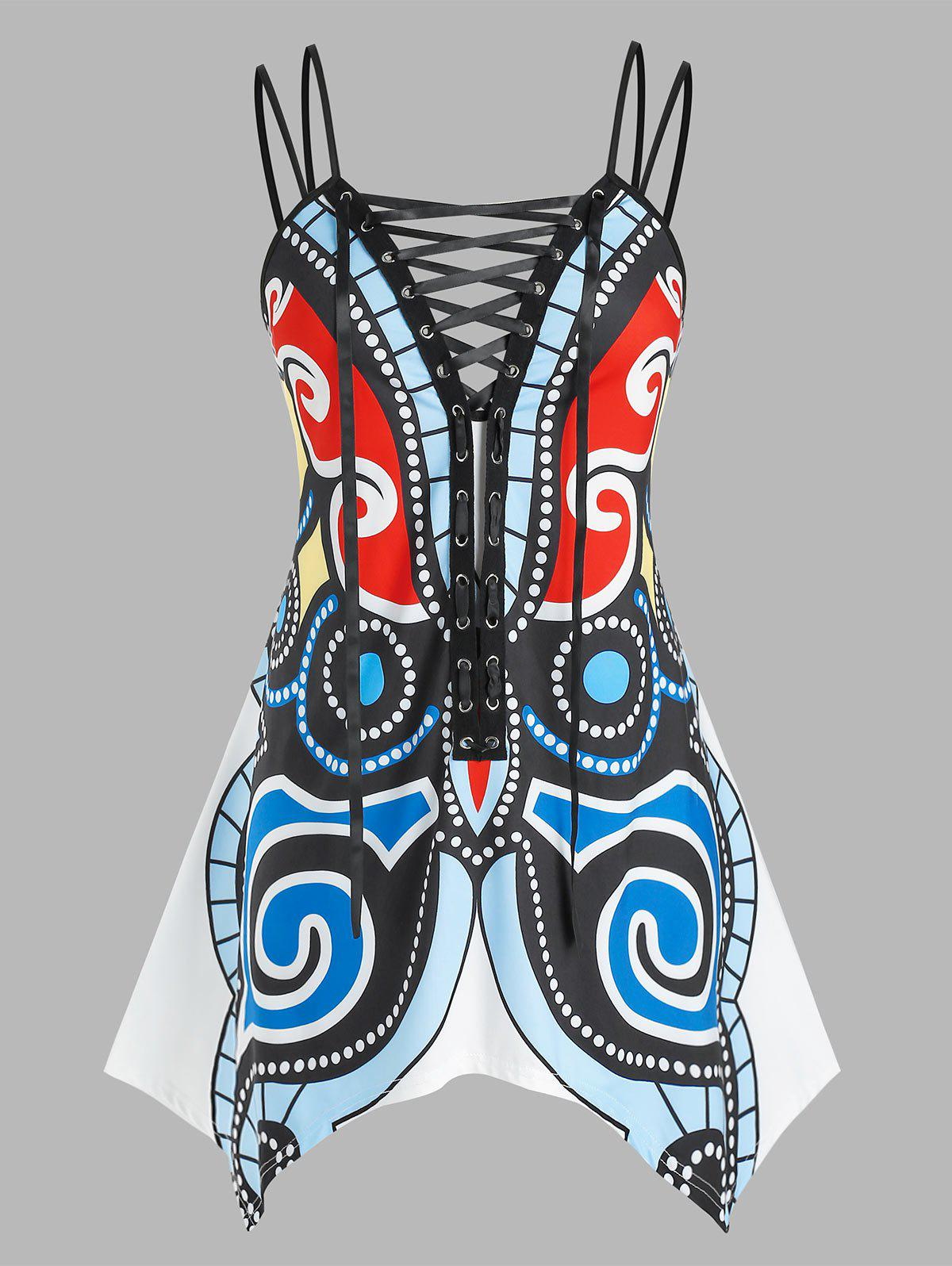 Plus Size Lace Up Butterfly Printed Handkerchief Tank Top - multicolor 5X