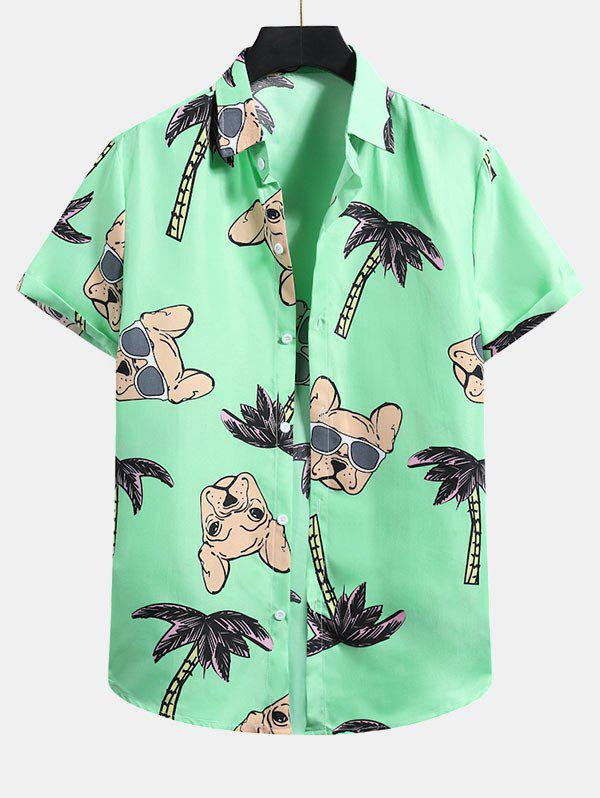 Palm Tree Dog Pattern Button Up Shirt - MINT GREEN XL