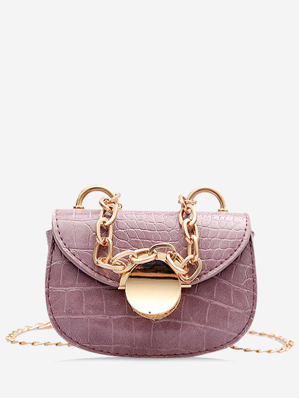 Chain Round Metal Mini Saddle Bag - LILAC