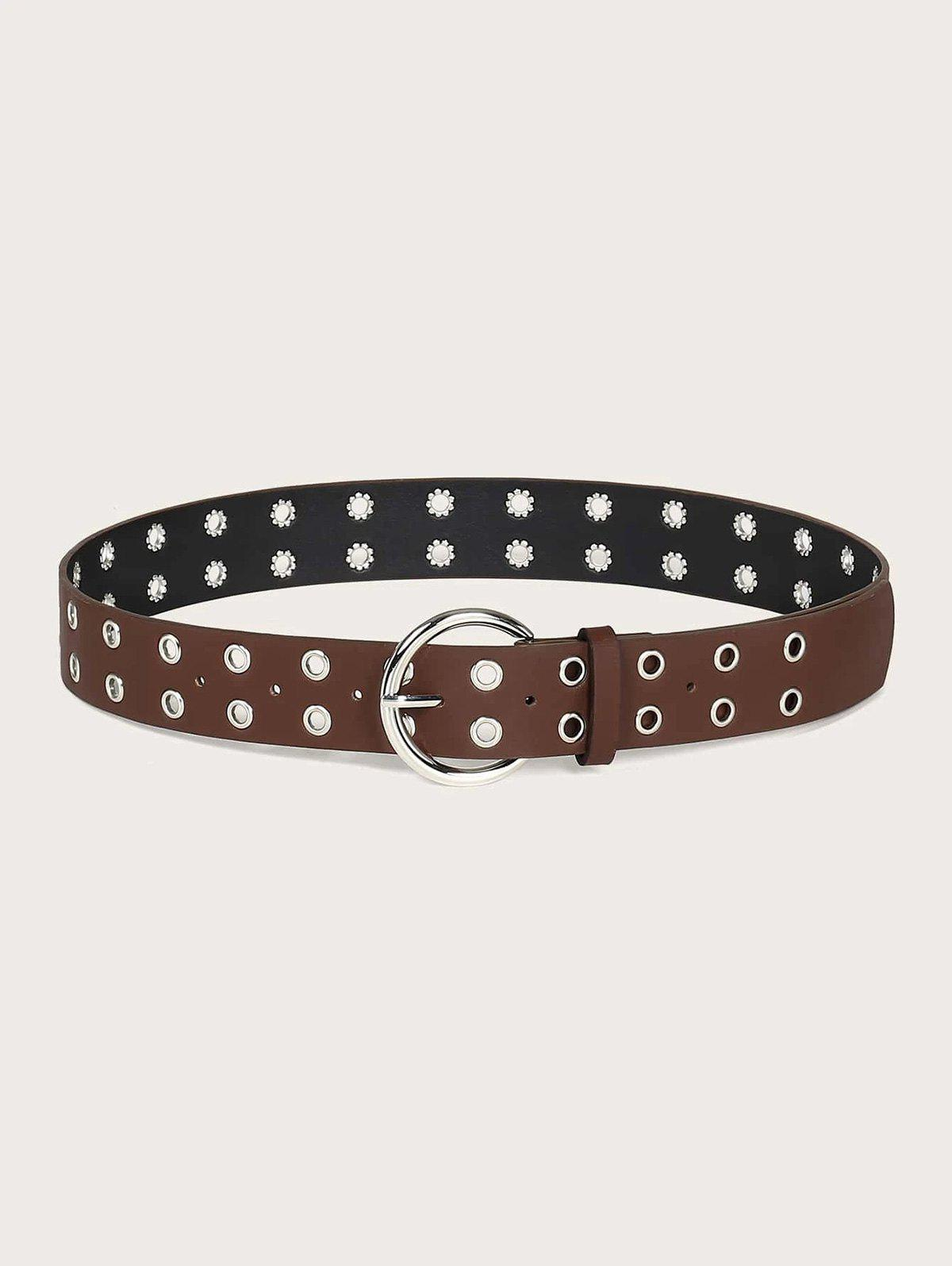 Punk Two Rows Grommet Pin Buckle Belt - SEPIA