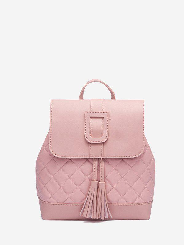 Solid Tassel Quilted Backpack - PINK