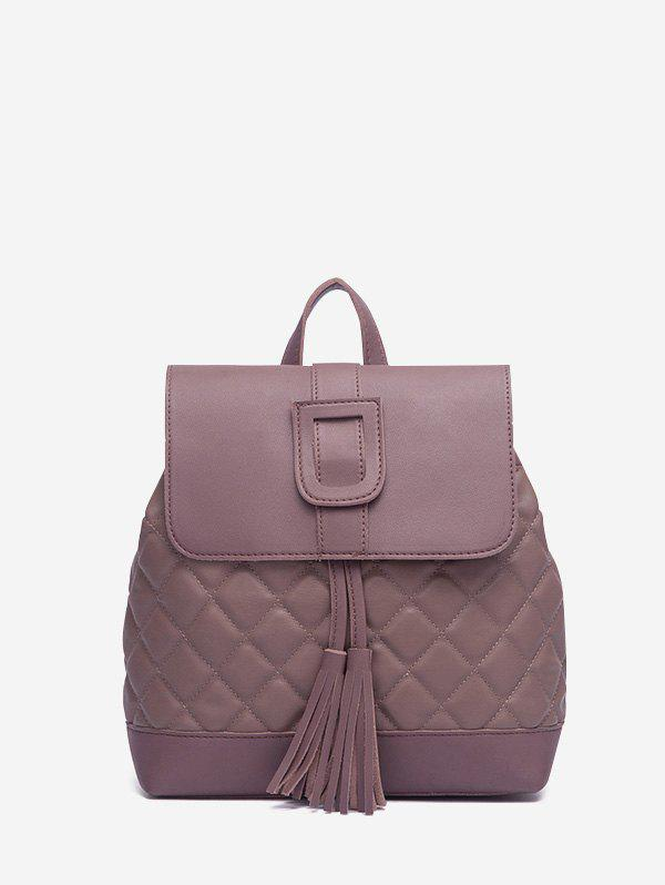 Solid Tassel Quilted Backpack - DULL PURPLE