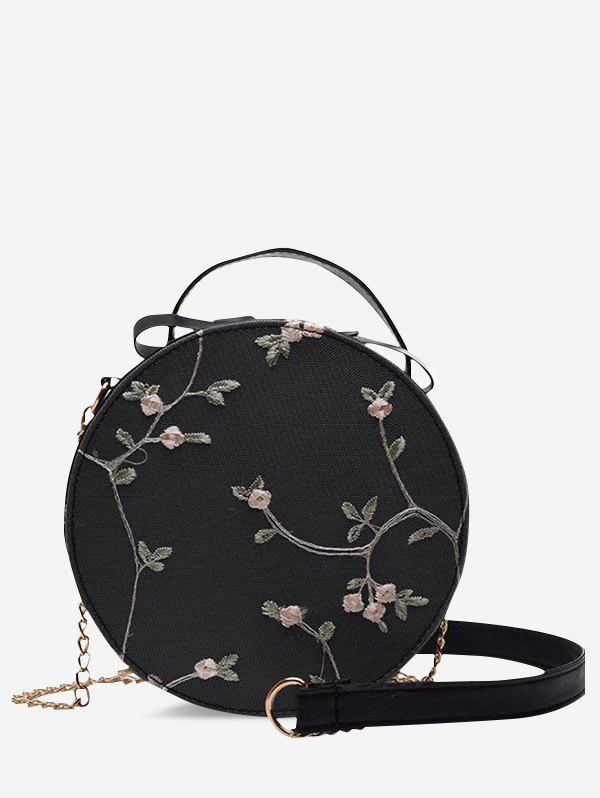 Lace Embroidery Flower Crossbody Canteen Bag - BLACK