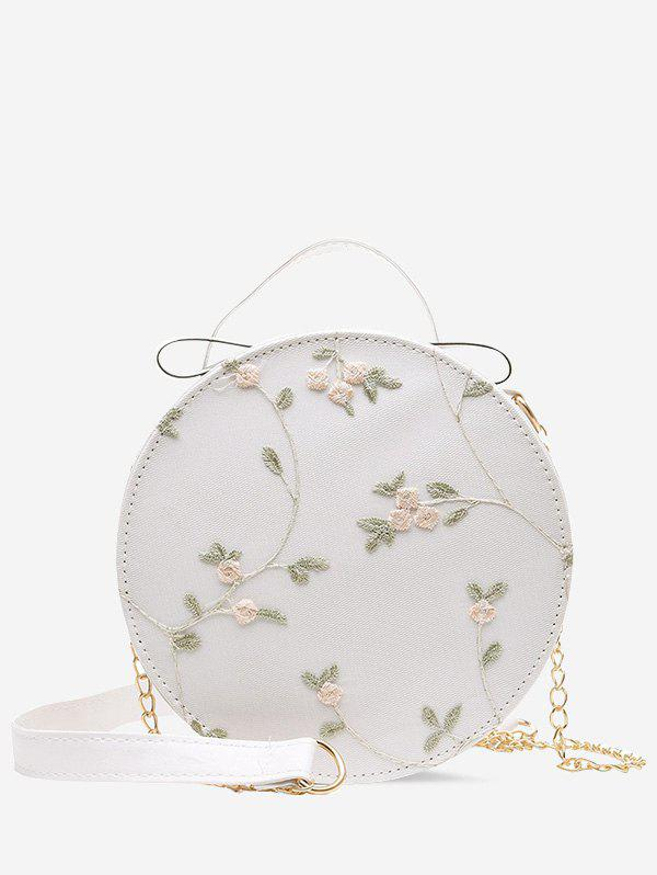 Lace Embroidery Flower Crossbody Canteen Bag - CRYSTAL CREAM