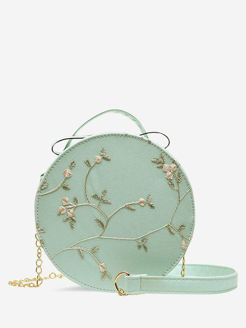 Lace Embroidery Flower Crossbody Canteen Bag - MEDIUM TURQUOISE